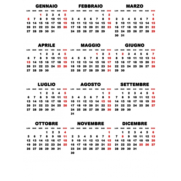 Calendario Annuale 2020 Italiano.Griglie Calendari 2020