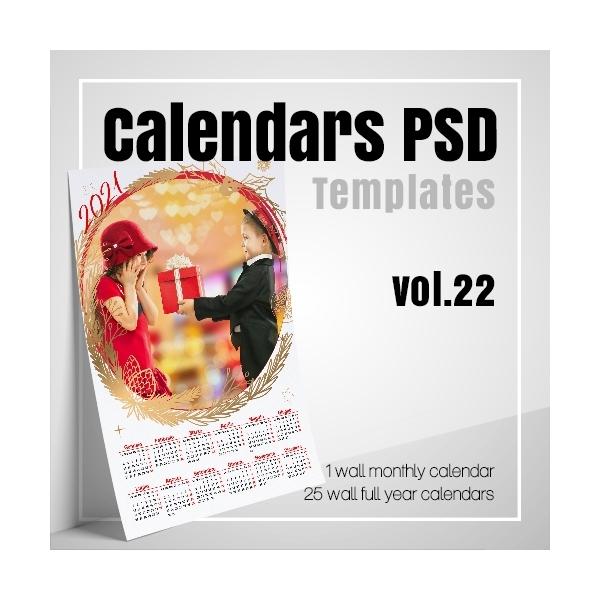 Modelli Calendario 2021 Photoshop Calendars 2021 PSD v.22