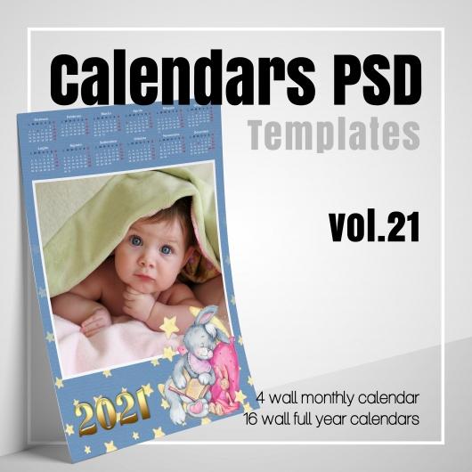 Modelli Calendario 2021 Photoshop Calendars 2021 PSD v.21