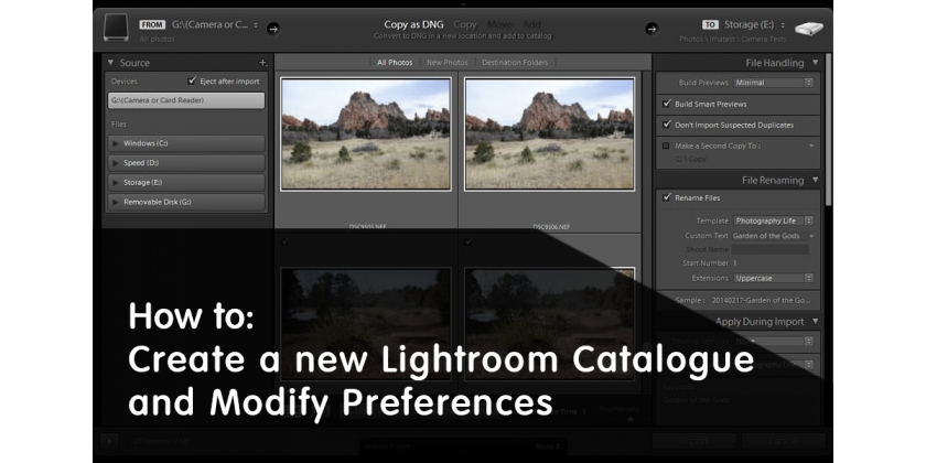 Come Creare un nuovo Catalogo Lightroom e Modificare le Preferenze
